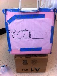 Use tissue paper to trace pictures onto coolers