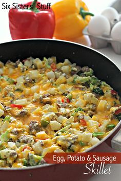 Egg, Potato and Sausage Breakfast Skillet on http://SixSistersStuff.com - this all cooks in one pan in a matter of minutes! @naomijamess
