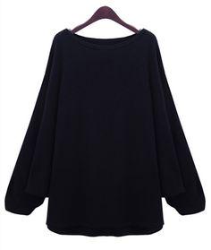 Jersey suelto cuello redondo manga muriciélago-Negro EUR€23.64