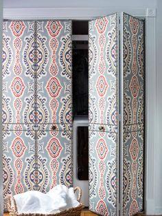 painted door fabric covered door