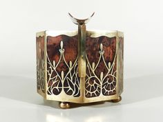 ERHARD & SÖHNE Jugendstil Art Nouveau Intarsien Aschenbecher