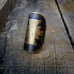 etched brass navajo ring.