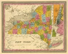 Vintage state map of New York