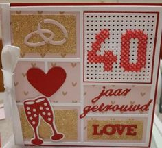Ruby Anniversary, Happy Anniversary Cards, Wedding Jokes, Wedding Cards, Embroidery Cards, Cross Stitch Cards, Marianne Design, Love Valentines, Love Cards