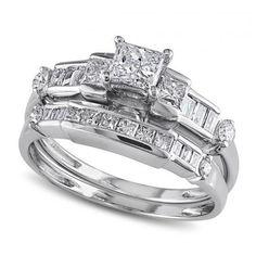 Allurez Round, Baguette & Princess Cut Diamond Bridal Set 14k W. Gold... ($2,180) ❤ liked on Polyvore