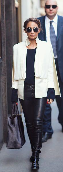nicole richie. beautiful white jacket by Esteban cortazar