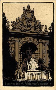 Steindruck Ansichtskarte / Postkarte Szczecin Stettin Pommern, Berliner Tor mit Felderhofbrunnen