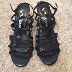 Black strap design heels 3 inch heel. Very comfy and easy to walk in. Shoes Heels