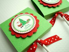 Merry Christmas Lollipop Favors Green and Red Set by SimpleTastes Christmas Party Favors, Christmas Labels, Stampin Up Christmas, Winter Christmas, Merry Christmas, School Gifts, Little Gifts, Craft Fairs, Holiday Crafts