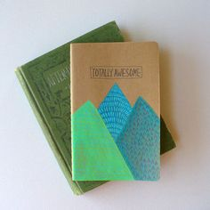 moleskine notebook - totally awesome, journal, hand painted, mountain, stocking stuffer, nature, travel