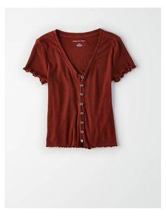 f8f6b8af8e1 AE Cropped Button Through T-Shirt