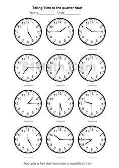 telling time worksheets | Telling Time to the quarter hour Create Your Own Math Worksheets