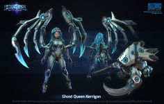 Hots Ghost Queen Kerrigan by polydrawer on DeviantArt Female Character Design, 3d Character, Character Concept, Overwatch, Starcraft 2, Sci Fi Armor, Heroes Of The Storm, Stars Craft, Robot Concept Art