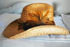 Vintage Cowboy Western Hat Shady Brady Woven Straw River Leather Feathers Cowgirl Small