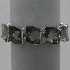 "Amazon.com: DR - Womens Bracelet Silver Rhinestone Bling Bling, 3/4"" H, Stretchable, Black: Jewelry"