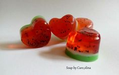 Watermelon heart soap with poppy seeds