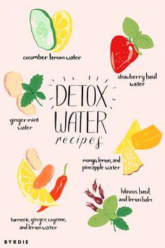 9 Detox Water Recipes to Help You De-Bloat - Wellness Detox Cleanse Water, Best Detox Water, Jus Detox, Detox Fruit Water, Strawberry Detox Water, Infused Water Recipes, Fruit Infused Water, Water Detox Recipes, Healthy Water