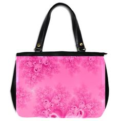 Soft Pink Frost of Morning Fractal Oversize Office Handbag (Two Sides)...#purses #bags #fractals #pink #RoseSantuciSofranko #Artists4God #frost #Winter #designer #cowcow