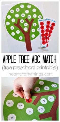 Fun Apple Tree ABC Match Preschool Printable
