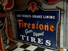 RARE Milk Glass Lettered Firestone Tires Porcelain Sign