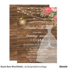 Rustic Barn Wood Bridal Shower - Coral Invitation