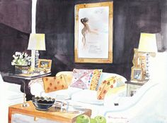 Black walls and glam living room depicted in watercolor--image via Style Beat