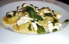 Spinach and Goats Cheese Ravioli with Walnut Pesto and a Cream Sauce