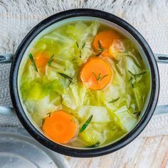 The Cabbage Soup Diet: For Weight Loss or Toxin Removal. Cabage Celery Carrats Onion Garlic Vegatable broth Salt and peper