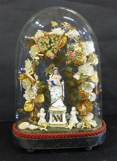 Bouquet de mariée avec statuette d'une Vierge à l'Enfant en porcelaine