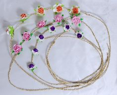 Handmade Flower Bohemia Stylish Headband/ Stylish Women Lady Girls Fashion Elegant Lace Hair Head Bands Hoop/ Bridal Flower Prom Wedding Tiara Headband/ Flapper Inspired Fashion Headband / Hairband Roses (1 set=3 lines) ** Want to know more, click on the image.