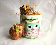 Handcrafted Owls Handcrafted, Handpainted Owl Soap with Owl Mug Soap Packing, Owl Mug, Coconut, Hand Painted, Mugs, Soaps, Tableware, Pink, Gifts