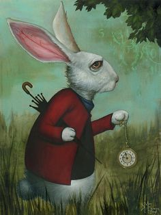 "In my upcoming novel ""Red Queen doing something vaguely menacing or possibly eldrich"" the hero accidentally acquires a demonic familiar that looks like a cross between Alice's white rabbit and a squid by way of a troll.   White Rabbit, Kevin Eslinger"