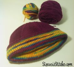 Free reversible hat knitting pattern by SiouxsieStitches.com