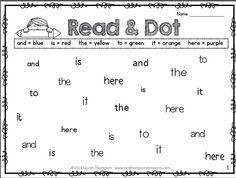 FREEBIE - Read & Dot - 15 worksheets that cover pre-primer and primer dolch sight words - Use the key to find the right color and use dot markers to dot the sight words! Great sight words reading and fluency practice!