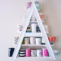 Coffee Mug Storage, Coffee Mug Display, Coffee Mug Holder, Coffee Cups, Interior Design Blogs, Built In Shelves, Display Shelves, Display Ideas, Glass Shelves