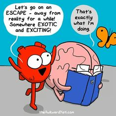 "Heart: ""Let's go on an ESCAPE - away from reality for a while. Somewhere EXOTIC and EXCITING!"" Brain reading a book: ""That's exactly what I'm doing."""