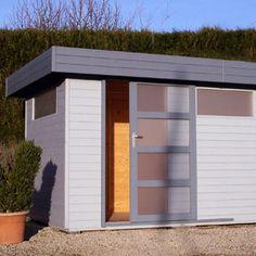 Abri de jardin moderne toit plat et porte coulissante for Abri de jardin toit plat resine
