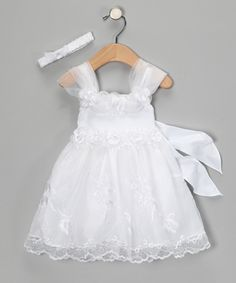 White Embroidered Rose Appliqué Dress - Infant & Toddler - Caldore