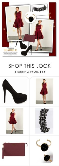 """""""Holiday Sparkle"""" by knittedbelleboutique ❤ liked on Polyvore featuring Nly Shoes, Aime, MICHAEL Michael Kors, Blandice, contestentry, HolidayParty, knittedbelleboutique and knittedbelle"""