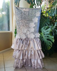 Sequin Floral Dress Chair Cover by SanDiegoPinkWedding on Etsy
