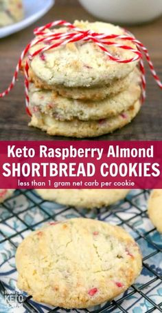 These Keto Raspberry Almond Shortbread Cookies are the perfect crumbly, buttery texture and less than 1 gram net carbs per serving! Almond Shortbread Cookies, Keto Cookies, Keto Friendly Desserts, Low Carb Desserts, Diet Dinner Recipes, Diet Recipes, Cookie Recipes, Cookie Ideas, Brownie Recipes