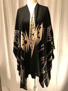 Nwot Ruff Hewn Womens Embroidered Poncho Bat Wings Sweater Black Tan Size OS #RuffHewn #Poncho