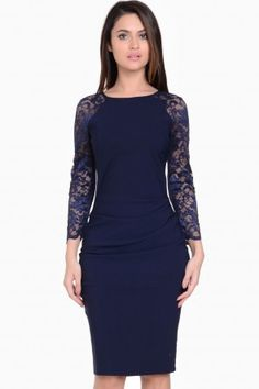 Cecily Lace Sleeves Midi Dress in Navy