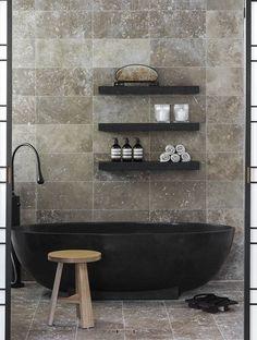 "thedesignwalker: ""black tub and shelves! "" https://www.epichomeideas.com/"