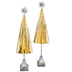 """Folded Gold Metal Trees With Silver Star (Set of 2) Product Dimensions:largest 10.5""""d x 38""""t"""