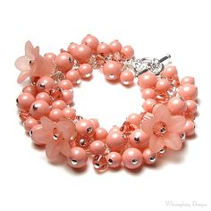 Pink Coral Bracelet, Swarovski Crystal Pearl Cluster Silver Floral Charm Bracelet, Crystal Bracelet, Peach Pearl Gem, Pink Flower Bracelet