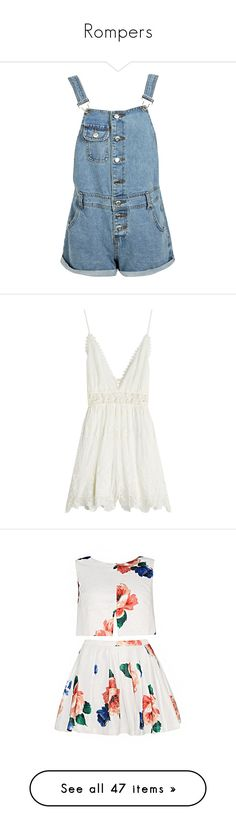"""""""Rompers"""" by aylin-schroeder on Polyvore featuring jumpsuits, rompers, shorts, overalls, dresses, bottoms, short rompers, denim overalls, blue rompers und denim bib overalls"""