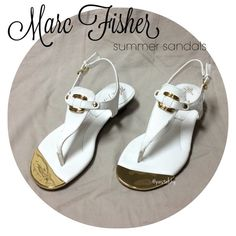MARC FISHER sandals NEW never worn, beautiful white sandals with gold accents.  size- 5.5 wedge- 1 inch  BUNDLE FOR BETTER PRICE- please don't hesitate to ask questions. thank you ☺ Marc Fisher Shoes Sandals