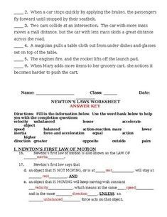 Newton S Laws Of Motion Worksheet And Review Newtons Laws