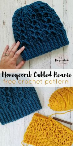 Honeycomb Cabled Beanie: Free Crochet Pattern This crochet cabled beanie is worked from the bottom up using double crochet and front post treble crochet stitches to create this cozy, textured hat. Crochet Cable, Treble Crochet Stitch, Double Crochet, Crochet Stitches, Crochet Hood, Chunky Crochet, Crochet Afghans, Crochet Blankets, Knit Or Crochet